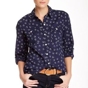 Lucky Brand Horseshoe Equestrian Button Up Blouse